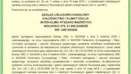 Inter-Klima Certyfikat F-gazowy